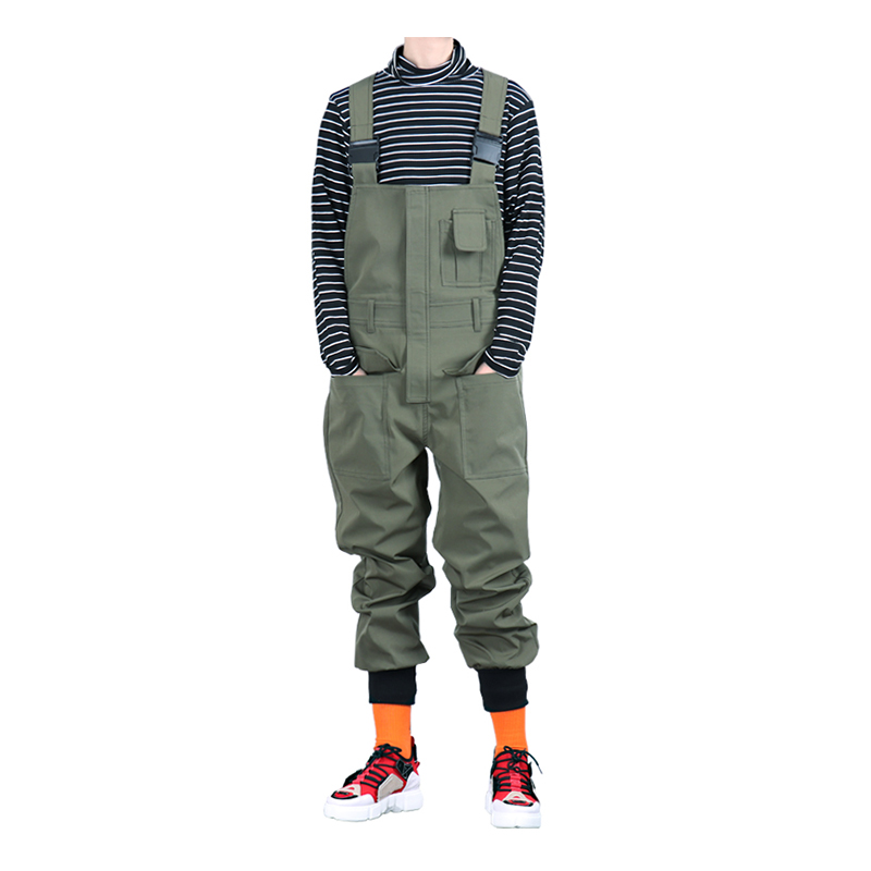 Sokotoo Men's Pockets Cargo Joggers Bib Overalls Loose Hip Hop Elastic Waist Jumpsuits Coveralls Army Green Black