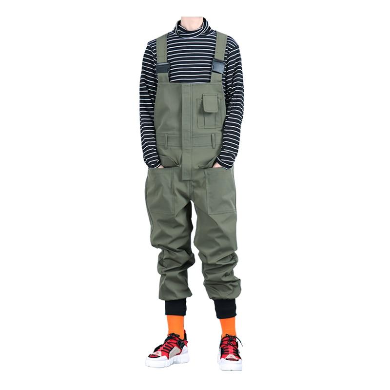 Sokotoo Men's Pockets Cargo Joggers Bib Overalls Loose Hip Hop Elastic Waist Jumpsuits Coveralls Army Green Black