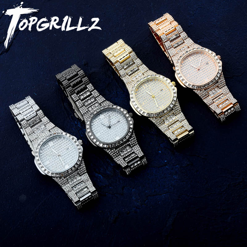 TOPGRILLZ Iced Out Diamond Watch Quartz Gold Silver Color Micro Paved Hip Hop Personality  Stainless Steel Watch