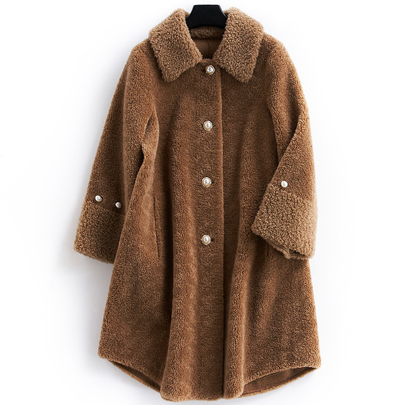 Shearing Sheep Women Coats 2020 Korean Style Real Wool Fur Coat Female Long Thick Warm Autumn Winter Jacket Women 281124