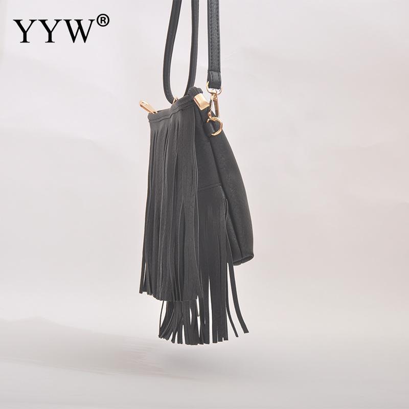 Black Crossbody Shoulder Bag Tassel Womens Purse Women 39 S Pu Leather Hobo Fringe Crossbody Tassel Purse Vintage Small Handbag in Top Handle Bags from Luggage amp Bags