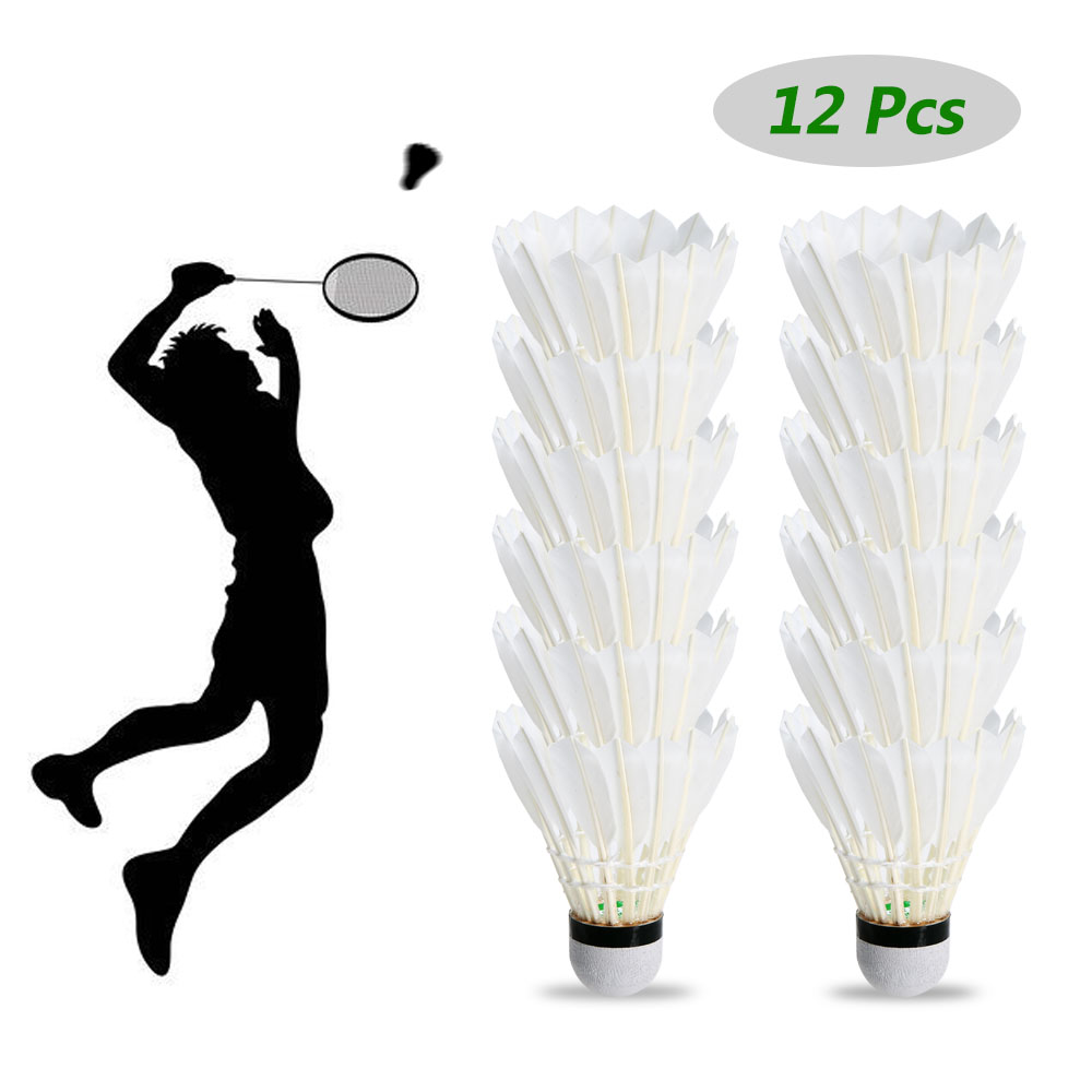 12 Pack Goose Feather Badminton Shuttlecocks Birdies Ball White Goose Feather Shuttlecock Badminton Balls Accessories