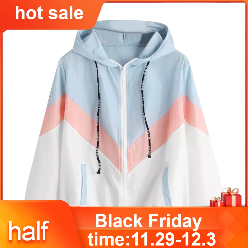 2020 New Jackets Women Long Sleeve Patchwork Thin Skinsuits Hooded Zipper Casual Sport Coat Hot Sale  #75