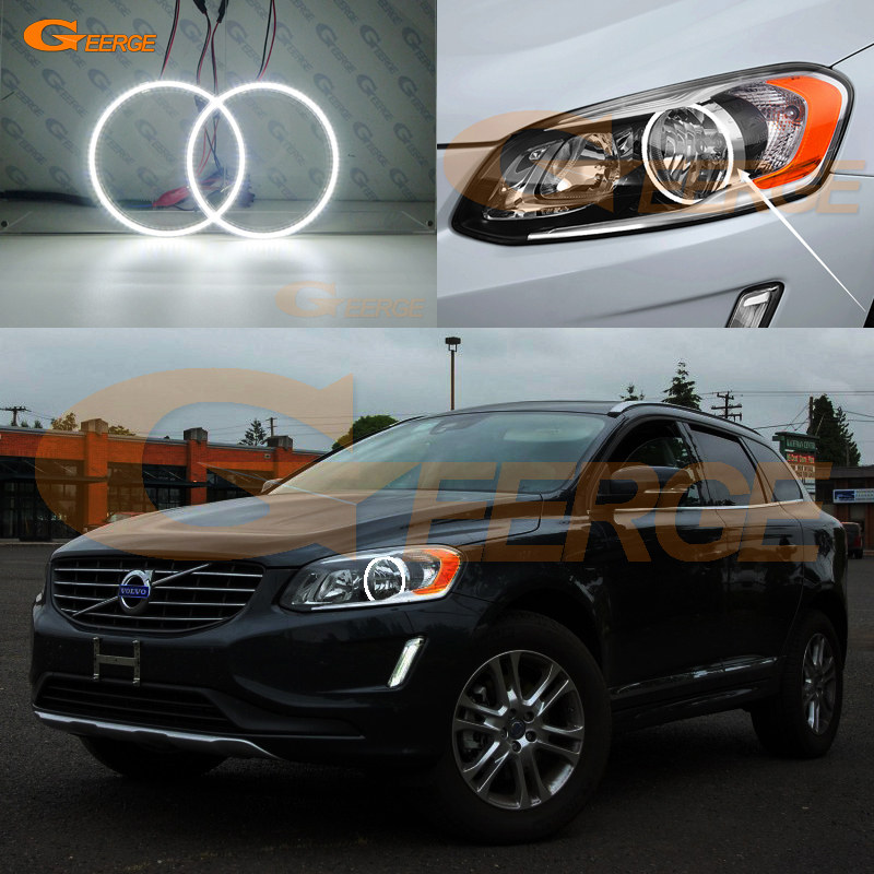 Excellent smd led Angel Eyes kit DRL Ultra bright illumination For <font><b>VOLVO</b></font> <font><b>XC60</b></font> <font><b>2014</b></font> 2015 2016 2017 facelift HALOGEN HEADLIGHT image