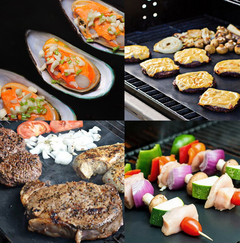 Heat Resistant Barbecue Grilling Mats and Non-Stick BBQ Baking Liners Made with Teflon