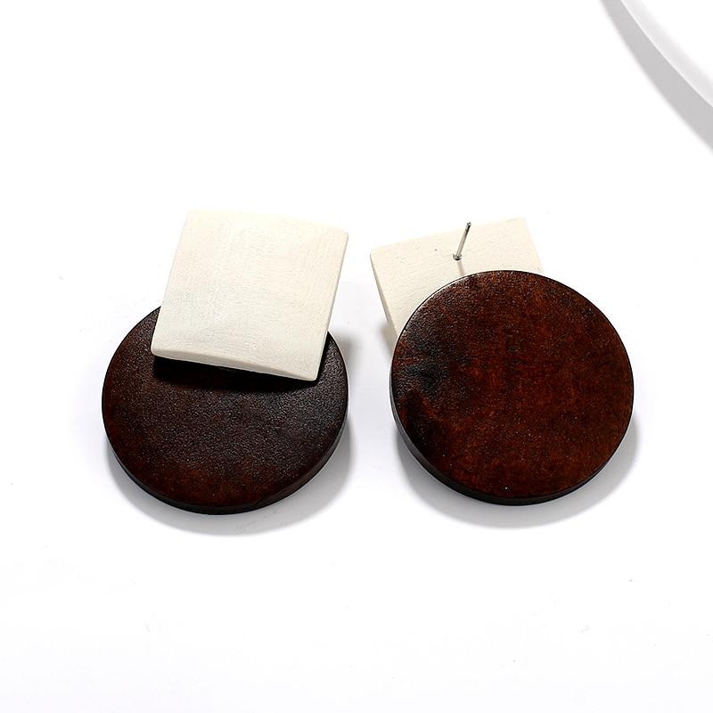 AENSOA Temperament Female Round Wooden Drop Earrings Popular Jewelry Wooden Simple Wild Wood Earrings For Women brincos