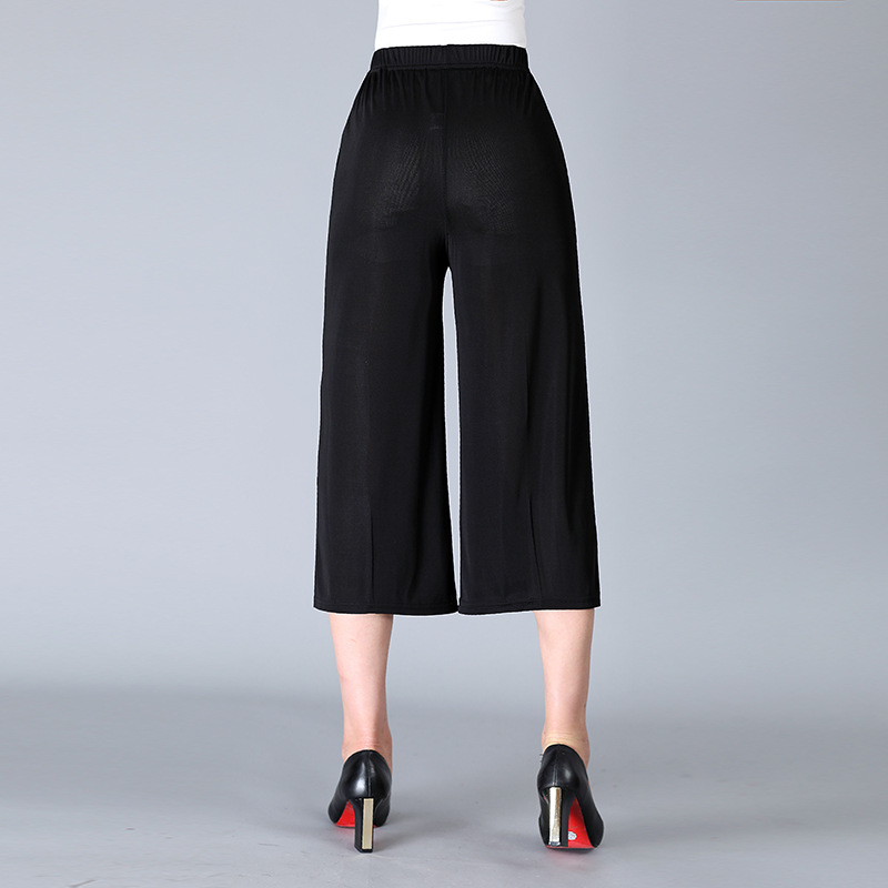 2019 Chiffon Capri Pants Wide-Leg Slimming Middle-aged WOMEN'S Pants Large Size Elastic Chiffon Breathable Solid Color WOMEN'S P