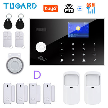 Tugard Tuya Wifi Gsm Home Burglar Security Alarm System 433MHz Apps Control LCD Touch Keyboard 11 Languages Wireless Alarm Kit 12