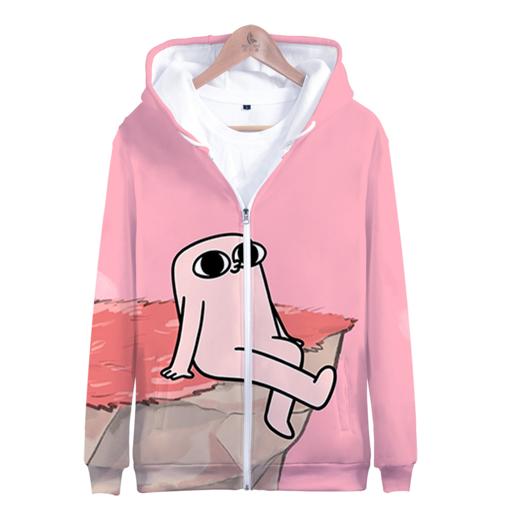 Ketnipz Zipper Hoodies Women men Fashion Long Sleeve Casual Little pink monster ketnipz Clothes 3D Print Harajuku Zipper Coat
