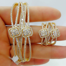 GODKI الفاخرة 2 قطعة خاتم الإسورة دبي مجموعة أزياء و مجوهرات مجموعات للنساء الزفاف المشاركة brincos الفقرة كما mulheres 2020