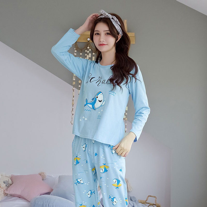 Spring And Autumn New Style Pajamas Women's Cute Cartoon Shark Students Dormitory Qmilch Pajamas Long Sleeve Two-Piece Set