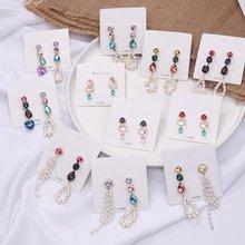 MENGJIQIAO coreano nuevo colorido de cristal de corazón de asimetría de perlas borla, pendientes para las mujeres fiesta de moda Boucle D'oreille