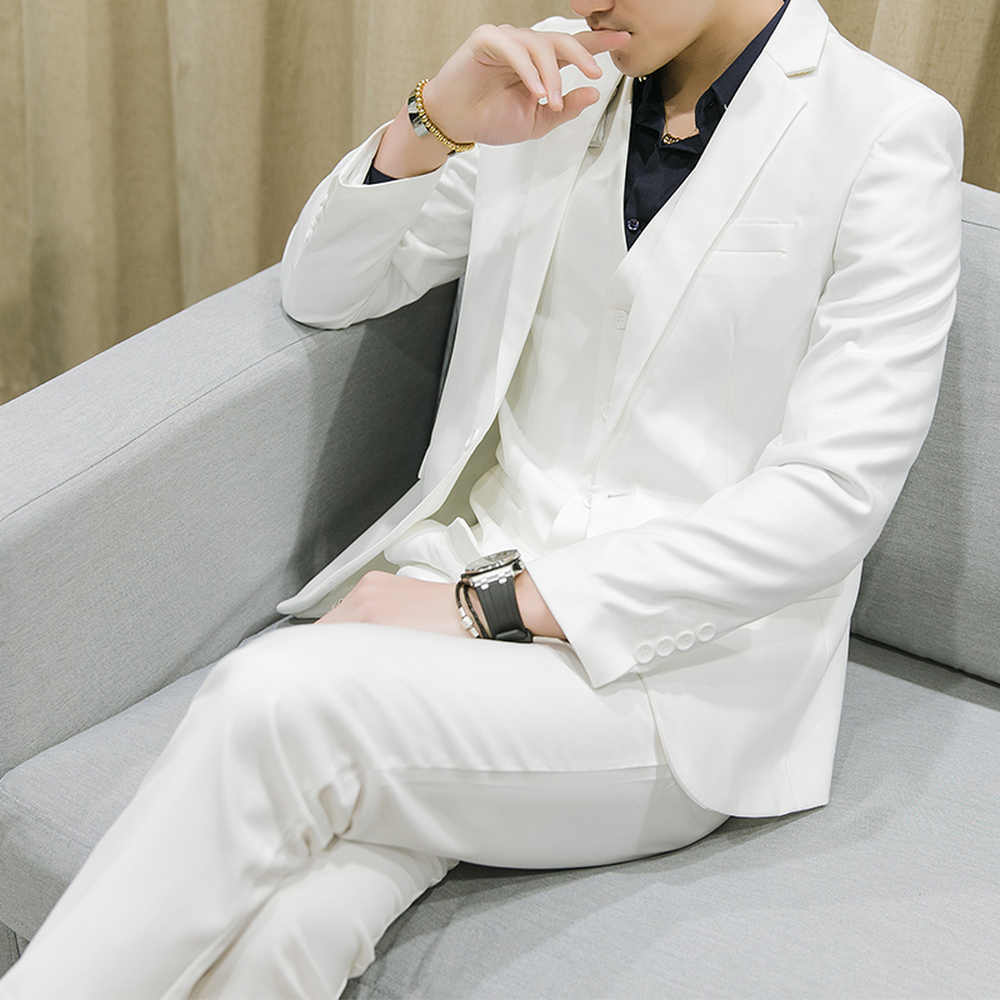 新メンズビジネスカジュアルスリム無地スーツスリーピース大サイズ M-6XL (ジャケット + パンツ + ベスト) 新郎のウェディングドレス