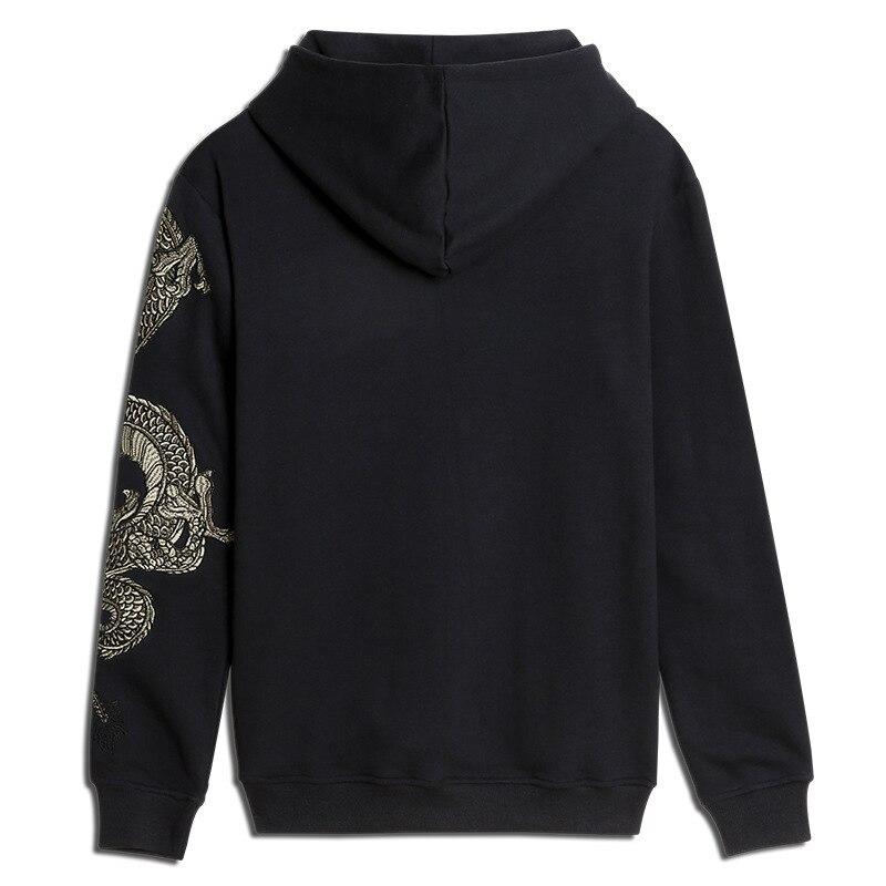 Дракон вышивка флис хип хоп топы гигантская популярная худи для мужчин повседневная куртка с капюшоном национальные животные хлопковые то... - 2