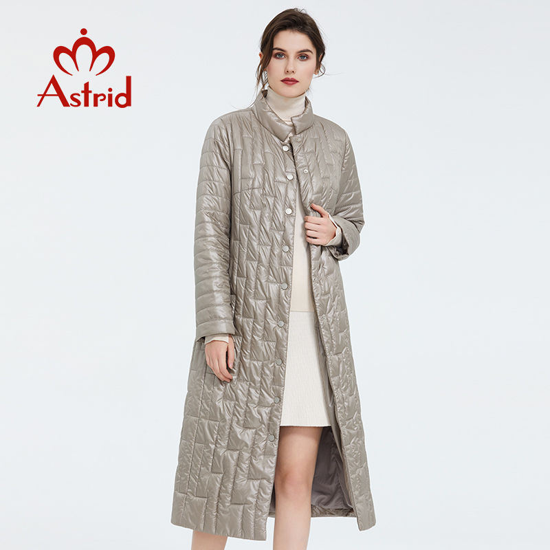 Astrid 2020 Spring Women Coat Warm Thin Cotton Jacket Long Slim Fit Fashion Stand Collar High Quality Outwear Trend Parka 7215