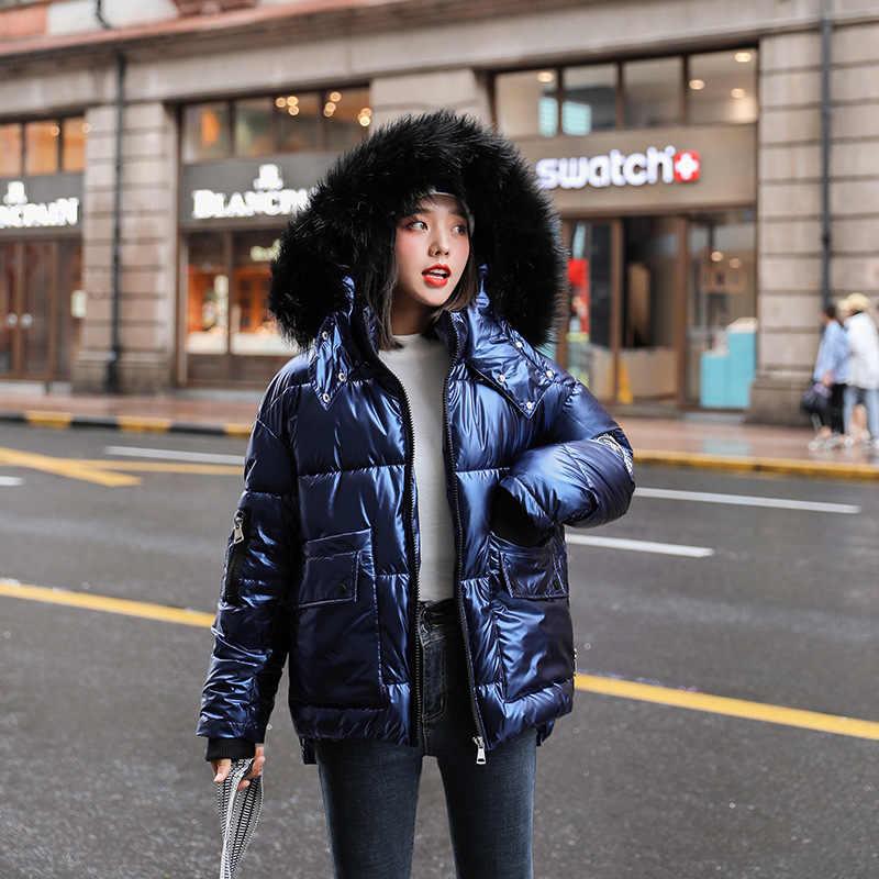 秋の冬の女性のダウン光沢のある綿フード付きパーカービッグ毛皮の襟カジュアル真珠光沢革厚い冬ジャケット
