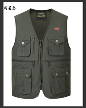 Men Multi-Pocket Waistcoat Fishing Vest Casual Fishing Vest Cotton Breathable Material Hunting Hiking Outdoor Vest Jacket