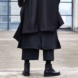 Image 4 - Men Japan Streetwear Hip Hop Punk Gothic Black Harem Pant Male Fashion Splice Loose  Wide Leg Skirt Trouser Kimono
