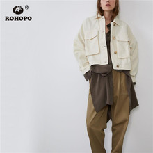 ROHOPO Big Pockets Buttons Fly Motor Cotton Fabric White Demin Jacket Straight Washed Solid Jeans Short Outwear #9472