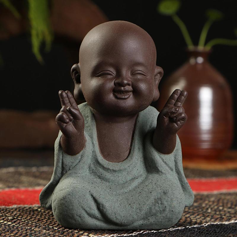 Buda Statue Buddha Figurine Monk Purple Sand Tea Budas Decorativos Figuras Bouddha India Statues For Decoration Sculpture