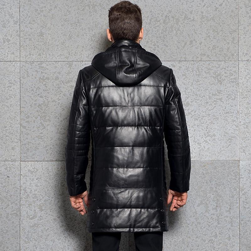 Winter Genuine Leather Down Jacket Men Hooded Real Sheepskin Long Coat Windbreaker Men Leather Jackets 3377 KJ2995
