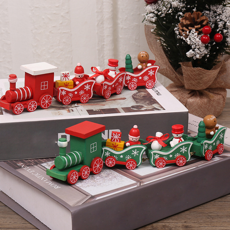 Christmas Train Mini Car Baby Painted Wooden Toys Xmas Snowman Model For Kids Product Christmas Gift