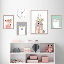 Cartoon Animals Fox Bear and Cat Posters and Prints Canvas Paintings Wall Art Pictures for Living Room Decor No Frame
