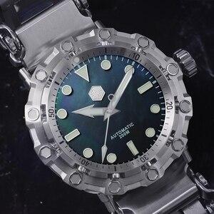 Image 3 - San Martin yeni UFO modelleme ahtapot orijinal Diver paslanmaz çelik erkek mekanik saat su geçirmez ışık Relojes