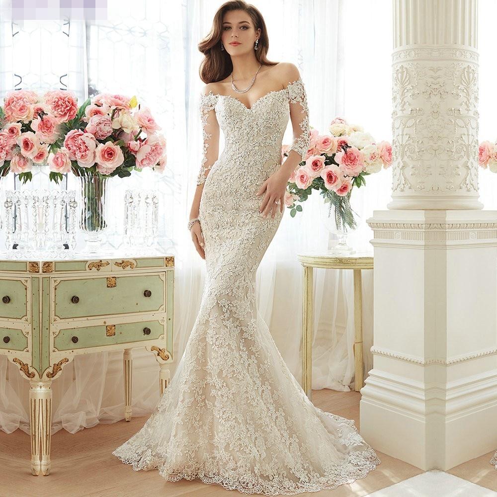 Mermaid Lace Vintage 2018 Elegant 3/4 Sleeves Off The Shoulder Brides Vestido De Noiva Bridal Gown Mother Of The Bride Dresses