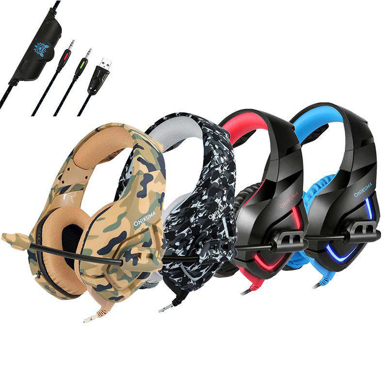 HobbyLane K1 Camouflage PS4 Headset Bass Gaming Earphones Casque with Mic for PC Mobile Phone Xboxx One Tablet Headphones Game image