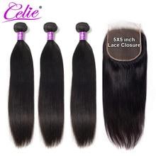 סלי שיער 5x5 סגירת עם חבילות רמי שיער טבעי 3 חבילות עם סגירה ברזילאי ישר שיער חבילות עם סגירה