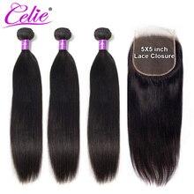 Celie Hair 5x5 zamknięcie z wiązkami Remy ludzkie włosy 3 zestawy z zamknięciem brazylijskie pasma prostych włosów z zamknięciem