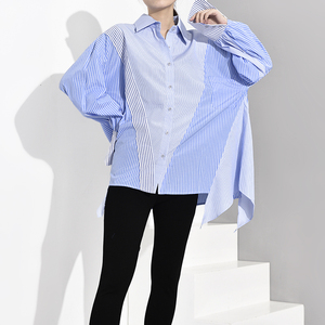 Image 5 - [EAM] ผู้หญิงสีฟ้าลายไม่สมมาตรขนาดใหญ่เสื้อใหม่แขนยาวหลวมFitเสื้อแฟชั่นฤดูใบไม้ผลิฤดูใบไม้ร่วง2020 JZ6870