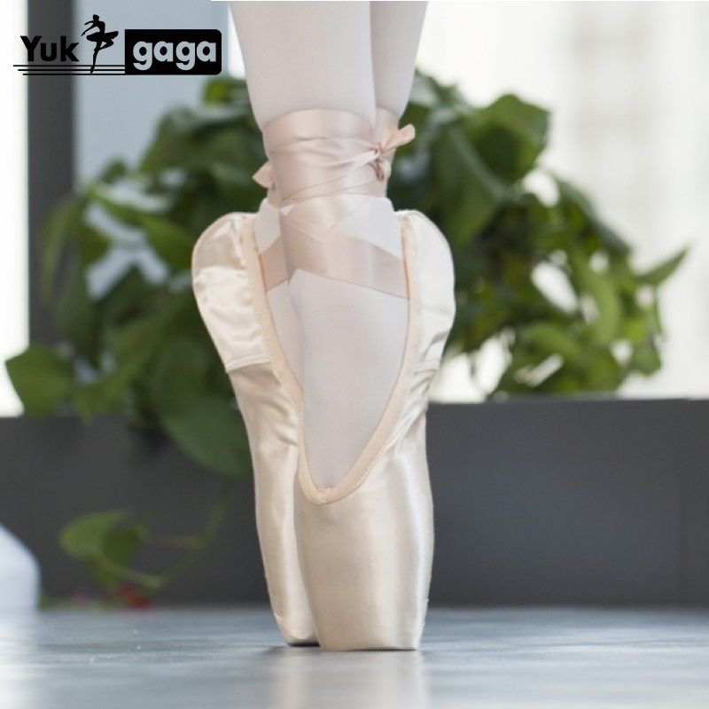 New Pointe Satin Upper With Ribbon Girls Women's Pink Professional Ballet Shoes Dancing Shoes With Toe Pads