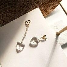 New Asymmetrical Heart Earrings Women S925 needle Fashion Korean Temperament Long Personality Jewelry