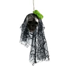 Foam Lace Simulation Head Skeleton For Halloween Household Hanging Decoration