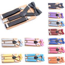 12 Цветов Новинка для маленьких мальчиков джинсовый комбинезон Детская+ галстук-бабочка, комплект из Цвета комплекты для мальчиков девушки, дети, ребенок ясельного возраста