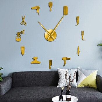 DIY barbería tienda reloj gigante de pared con efecto espejo Barbero herramientas kits reloj decorativo sin marco reloj peluquero Barbero arte de pared