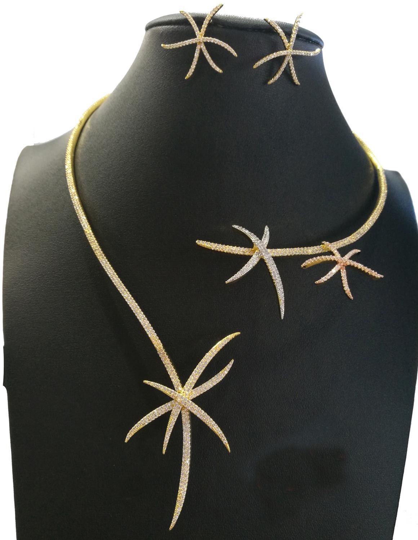 Accking luxe rétro simplicité ensemble de bijoux pour les femmes fête Dubai collier ras du cou boucle d'oreille CZ cristal ensembles de bijoux de mariage