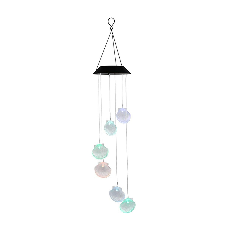 Wind Chimes, Changing Color Seashell Solar Wind Chime, Led Wind Chime Night Lights Solar Hanging Lantern For Home Garden Bedroom
