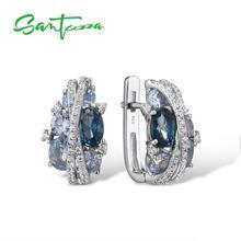 SANTUZZA, серебряные серьги для женщин, подлинные, 925 пробы, серебро, мерцающее, голубой, фианит, гламурные серьги, хорошее ювелирное изделие