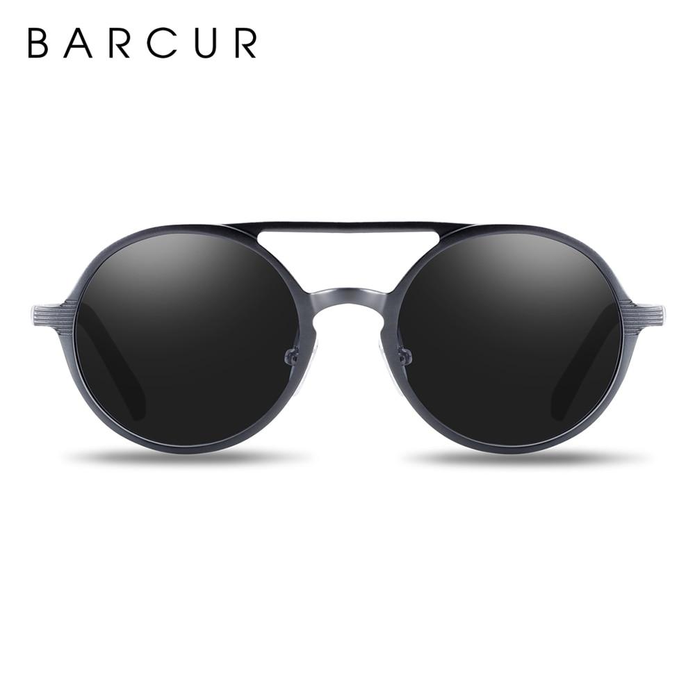 BARCUR Hot Black Goggle Male Round Sunglasses Luxury Brand Men Glasses Retro Vintage Women Sun glasses UV400 Retro Style 11