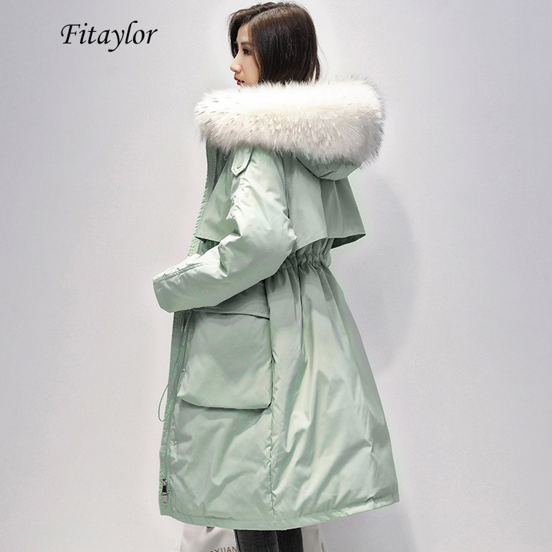 Fitaylor Large Natural Fur Collar Long Coat Women Winter 90% White Duck Down Parka Female Zipper Sash Tie Up Down Jacket Outwear