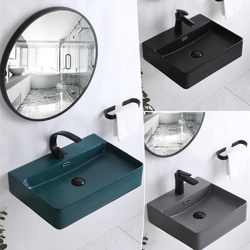 Wall-hung Wash Basin Simple Ceramic Hanging Basin Integrated Basin Bathroom Sink Bowls Matte Grey Wash Hand Basins