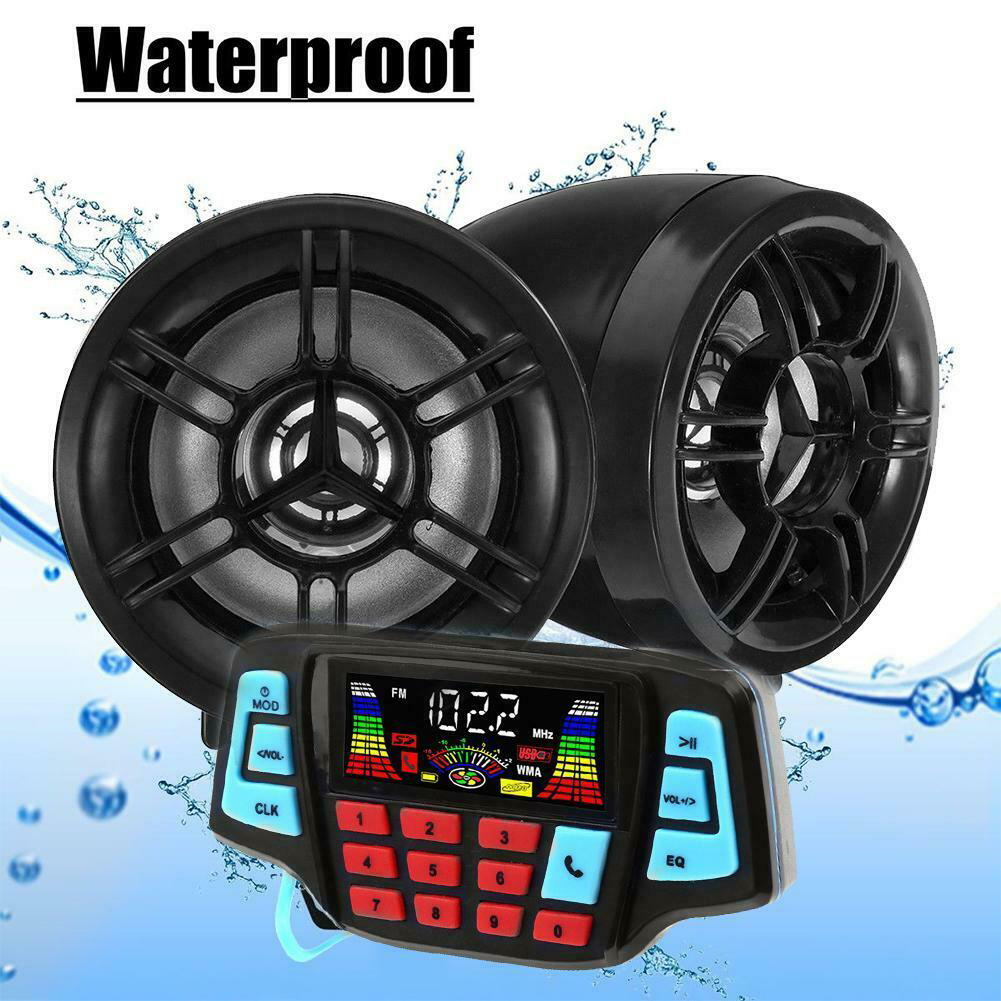 LCD Screen Mp3 Playing Outdoor Practical Anti Theft Stereo Accessories Waterproof Motorcycle Audio Bluetooth Simple To Use