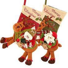 Рождественские Чулки-58 см, рождественские висячие Чулки, милый дизайн с оленем, рождественские запасы для украшения праздника