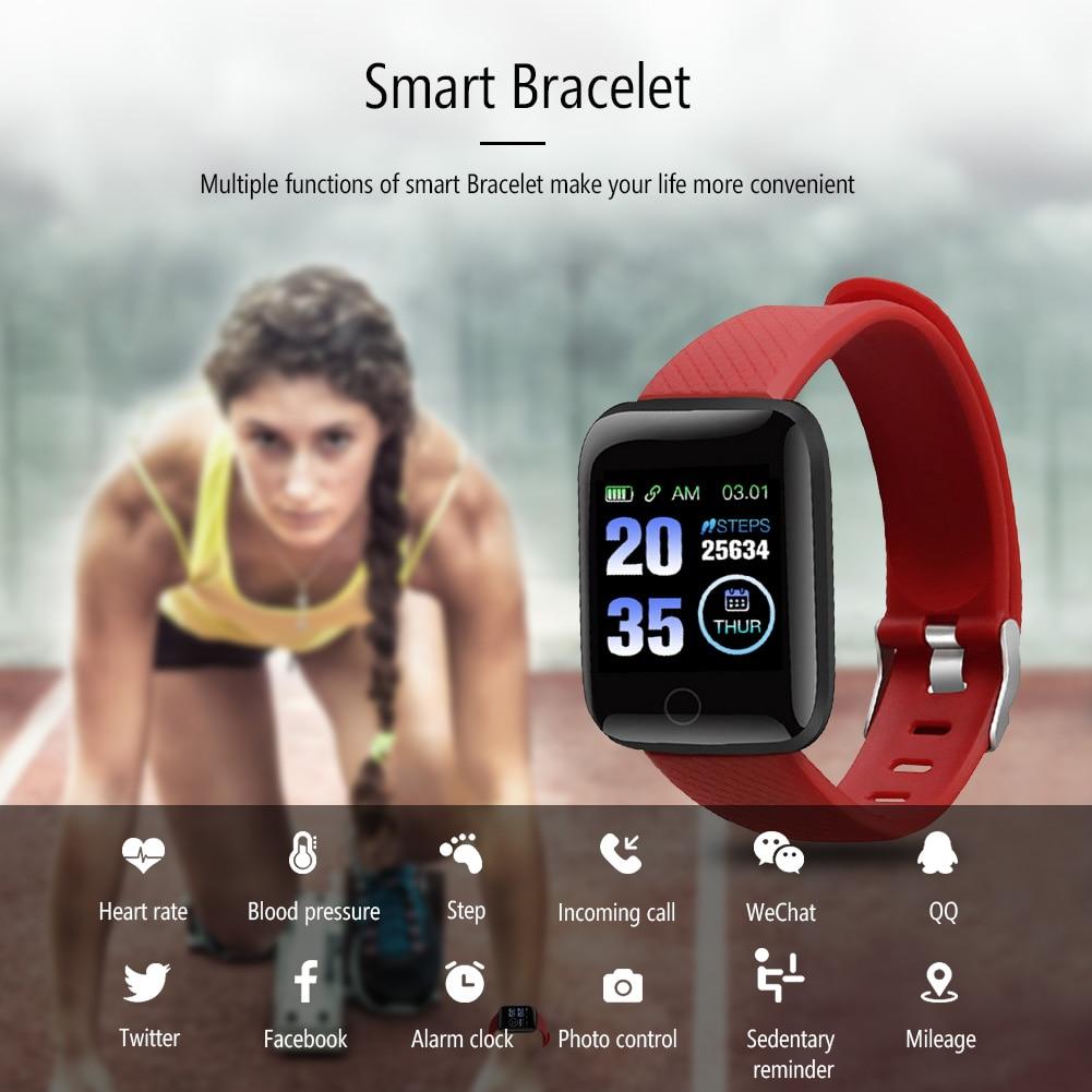Relógios inteligentes 116 mais d13 relógio de freqüência cardíaca pulseira inteligente esportes relógios banda inteligente à prova dwaterproof água smartwatch android a2 dropship