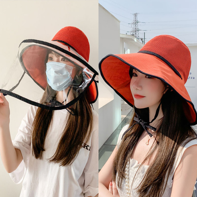 Virus Protective Face Mask Anti-saliva Dust-proof Sun Hat Safety Full Face Shield Mask Protection Big Eave Fisherman Fishing Cap 1