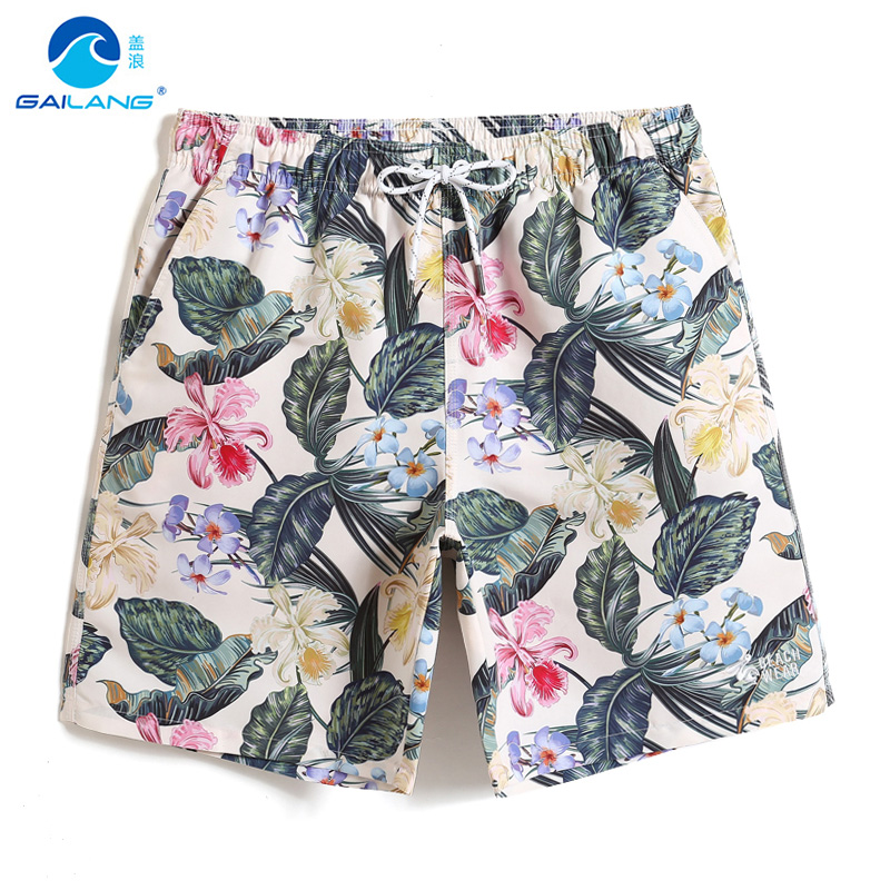 Board     shorts   2019 Men's Swimming trunks Floral printed swimsuit joggers briefs quick dry surfing plavky beach   shorts   mesh