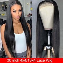 Парик из человеческих волос Maxine, 30 дюймов, прямые Закрытие, парик для женщин, длинные прямые человеческие волосы спереди, парик 150%